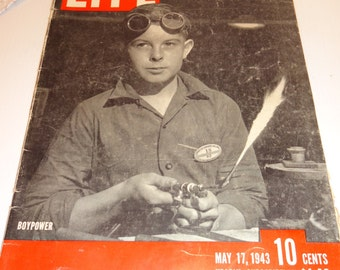 World War II Life Magazine , Boy Power, May 17, 1943, Combat Pictures, Advertisements,Fourth of July