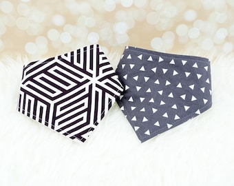 Baby Bibs - Baby Bandana Bibs - Graphite Cubes & Grey Triangles - Set of 2 baby bibs (or choose from over 200 fabrics)