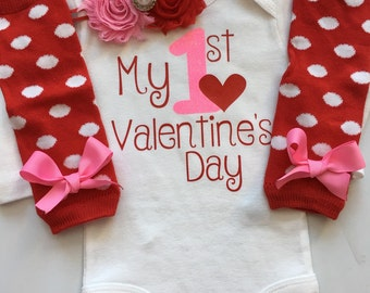 Baby Girl Outfit - Baby Valentines Day outfit - My 1st Valentines- Sizes Preemie-24 months- 1st Valentines Day outfit