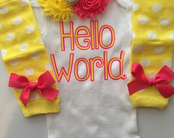 NEWBORN Baby Girl outfit -Coming home outfit - Newborn baby clothes - go home outfit - newborn girl- Hello World--Yellow and Hot pink