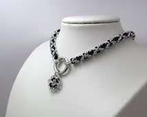 Slave Collar in Black and Silver with Ring Clasp an Rose Pendant Byzantine Chainmaille Day Collar BDSM Bondage Fetish Gorean Submissive