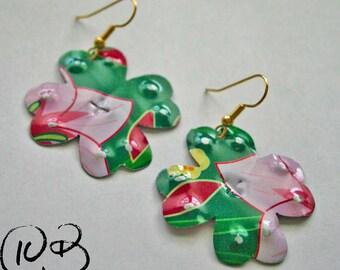 Lucky clover earrings. Reclaimed recycled tin art