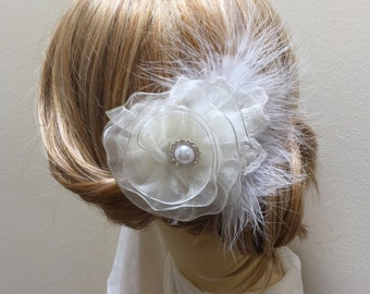 Ivory Feather Flower Hair Clip, Ivory Feather Fascinator, Wedding Hair Accessory, Bridal Hair Flower