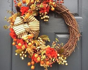 Fall Wreaths, Fall Door Decor, Thanksgiving Wreaths, Autumn Wreath, Fall Door Wreaths, Fall Colors, Hydrangea Wreath