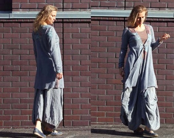Linen women Duster Jacket with silk fabric applique, Boro Sashiko Patchwork, Knitted cardigan, Upcycled Recycled clothing, Bohemian style