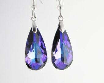 Purple earrings, Swarovski Crystal Drop, Purple Drop earrings, Sterling Silver & surgical steel, Swarovski Purple Drop earrings