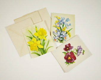 Vintage Floral Notecards - Set of 3 - Spring Flowers
