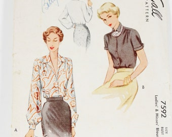 McCalls 7592 - Ladies and Misses Blouse - Vintage 1949 Pattern - Size 18 Bust 36