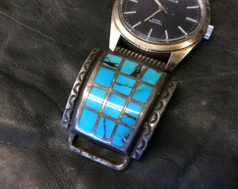 Native American Indian Sterling silver and turquoise watch band, hallmarked