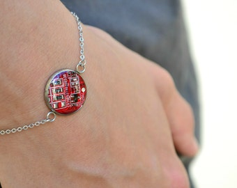 Friendship Techie Bracelet, Geeky Nerdy Computer Circuit Board Jewelry, Geek Chic girl Jewelry