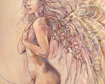 Dragoness Original Painting Fantasy Art Original Drawing Acrylic Pen ink Sketch Woman Adult Fantasy Sexy Nude Angel
