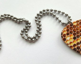 Honey Comb Guitar Pick Necklace with Stainless Steel Ball Chain - bees - nature