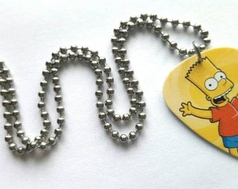 Bart Simpson Guitar Pick Necklace with Stainless Steel Ball Chain - cartoon