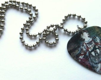 Buddha Guitar Pick Necklace with Stainless Steel Ball Chain