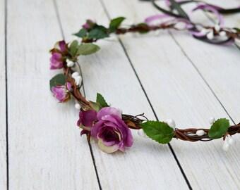 Plum hair crown, Woodland hair wreath, Purple bridal headpiece, Rose halo, Boho crown, Natural headpiece, Rustic hair accessories