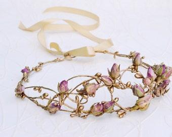 Gold bridal crown, Bridal headpiece, Flower crown, Rustic hairpiece, Gold purple headpiece, Fairy crown, Flower headband, Romantic crown