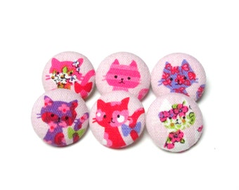 Fabric Buttons - 6 Medium Buttons - Pink Fabric Covered Buttons - Cat Sew Buttons -  Kawaii Sewing Buttons - Pink Cats Buttons - Retro