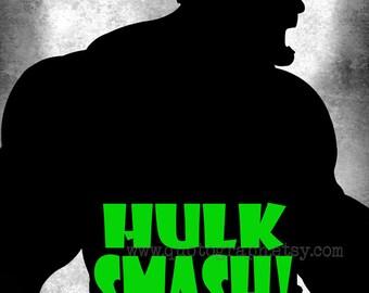 The Incredible Hulk - photo print - Superhero Poster Wall Art Texture Boys Room Geek Geekery Nerd Office Man Cave Gift for Him Action Smash
