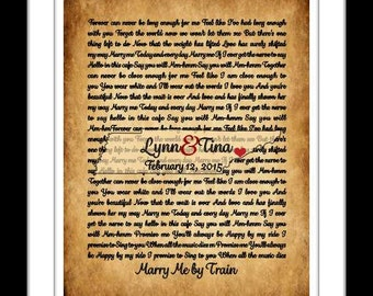 Unique wedding gift, song lyrics map art print, valentines day poem vows anniversary gift, tennessee wedding song wall art rustic home decor