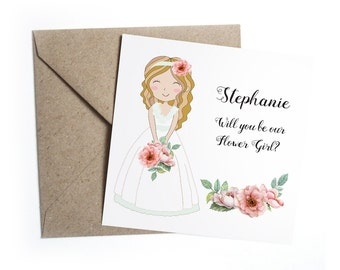 Will You Be My Flower Girl Card - Personalised Floral Wedding Vintage Rose