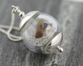 Maine Beach Memories Pendant Handmade Hollow Bead with Beach Sand , Sea Glass + Shells