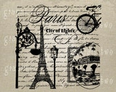 Paris lights Eiffel Tower Bicycle Instant digital download image for iron on fabric transfer burlap decoupage pillow card tote No. 780