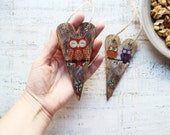 Owls wooden heart ornaments rustic shabby spring wedding favors baby shower nursery decor party favors boho wedding, bohemian wedding