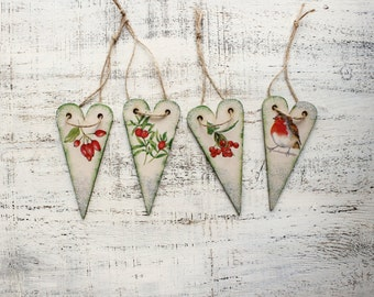 Set of 4 wooden Christmas ornaments Christmas decoration vintage looking hearts boho rustic cottage chic shabby chic