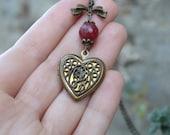 Ruby Heart locket necklace, victorian locket necklace, Filigree heart locket necklace vintage, Victorian necklace, victorian jewelry