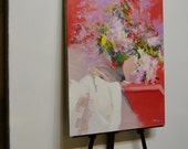 Lilacs Painting - Red White Flowers Painting - Oil Still life Artwork Floral
