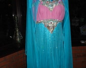 Bollywood chiffon lined jewelled lndie morrocan sparkling all lined indian three piece gold/silver metallic embroidered beaded & sequined