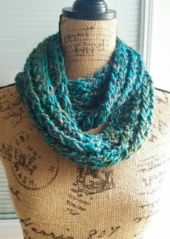 Knit Infinity Scarf - Teal Peacock (shown), Copper Rose, or Lavender Cream