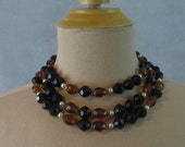 Triple Strand Black, Brown and Pearl Bead Necklace