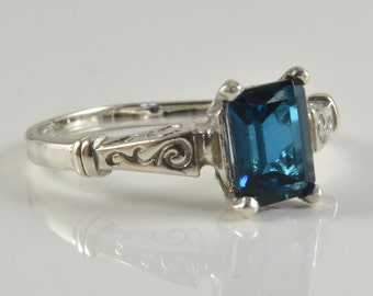 London Blue Topaz Ring in Sterling Silver,  Genuine Octagon London Blue Topaz Stone, Scroll Renaissance Style Ring