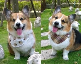 Dog bandana Sheep & plaid slide over collar pet bandana Reversible cotton bandana for dog with lamb on white and brown tartan check  ( L)