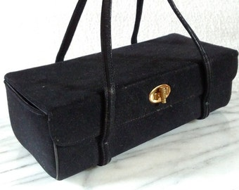 Vintage Black Soft Mad Men Box Clutch