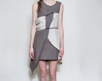 Recycled Sail Cloth and Dusty Purple Dress, Waxed Cotton, size xsmall
