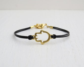 Gold hamsa bracelet, Gold leather bracelet, Gift for her