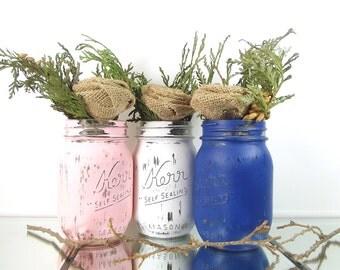 Spring Decorations, Mason Jar Centerpiece, Rustic Centerpiece, Painted Mason Jar Decor, Spring Decor, Glass Vase, Dining Table Centerpiece