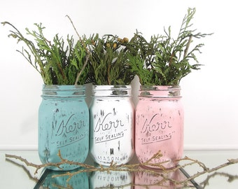 Mason Jar Wedding, Decorated Mason Jars, Rustic Wedding Decor, Spring Table Decor, Wedding Decoration Ideas, Bridal Shower Decor