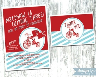 Personalized Red Tricycle Printable Invitation Pack