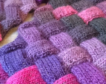 Shades of Purple Hand Knit Wool Entrelac Scarf