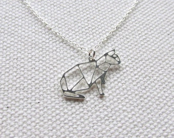 Origami Necklace Silver Cat Origami Pendant Sterling Silver Chain Delicate Minimalist Jewelry Origami Animal