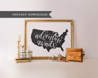 Adventure Awaits printable art, travel quote, Printable wisdom, wall art, printable wall art, quote printable, hand lettered printable