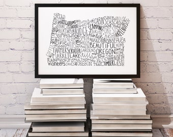 State of Oregon Typography Print; Wall Decor; Christmas Gift; Wall Art; Wedding Anniversary Engagement Graduation Gift Decor