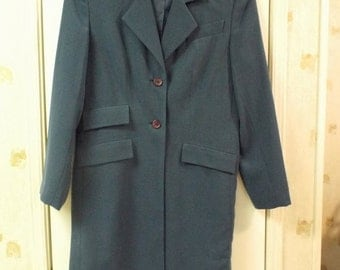 Women's Fall Winter Fashion French Blue Long Over Coat Blazer Size 6 Retro And So Blue