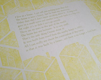 Letterpress Broadside by Rebecca Elliott I LIVE IN A HOUSE