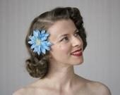 "Turquoise Flower Clip, Blue Hair Accessory, Small Fascinator, Floral Headpiece, 1950s Hair Piece Vintage - ""Salt Water Siren"""