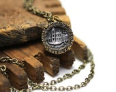 "Castle Necklace, Antique Button Jewelry, Fairytale Keepsake, Late 1800s Heirloom, Pewter Brass Charm, Victorian - ""Once Upon a Time"""