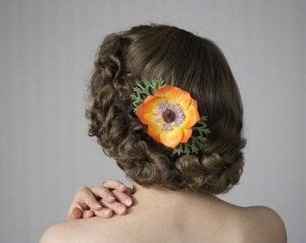 "Orange Floral Clip, Hair Accessory, Tropical Flower Hair Clip, 1950s Headpiece, Vintage Hair Women - ""Deep Sea Sunset"""